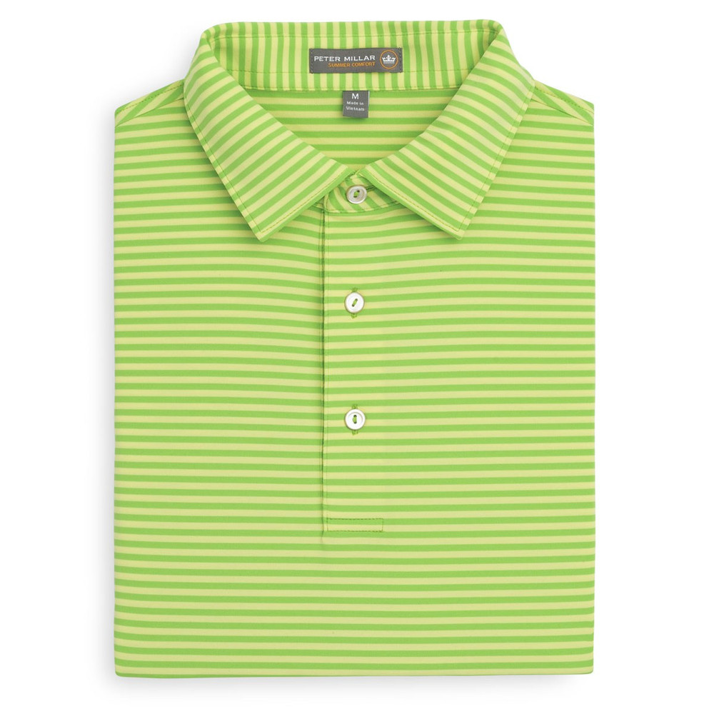 079c5e2b5 Competition Stripe Stretch Jersey 'Crown Sport' Performance Polo with Sean  Self Collar in Pomelo and Sundust by Peter Millar - Hansen's Clothing