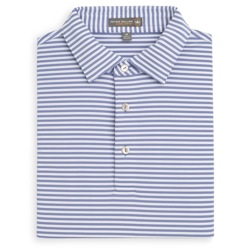 865d53eae85 Competition Stripe Stretch Jersey 'Crown Sport' Performance Polo with Sean Self  Collar in Thunderbird and White by Peter Millar - Hansen's Clothing