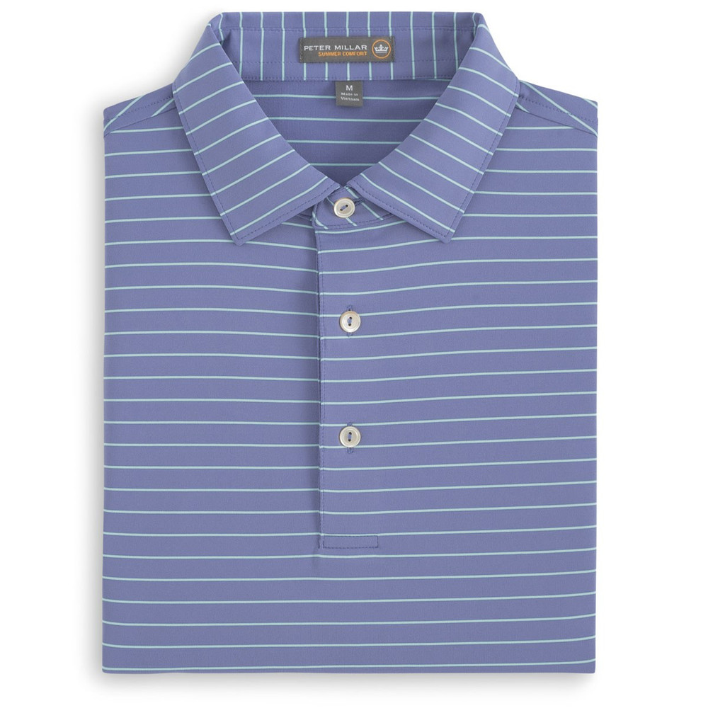 Halifax Stripe Stretch Jersey 'Crown Sport' Performance Polo with Sean Self Collar in Thunderbird by Peter Millar