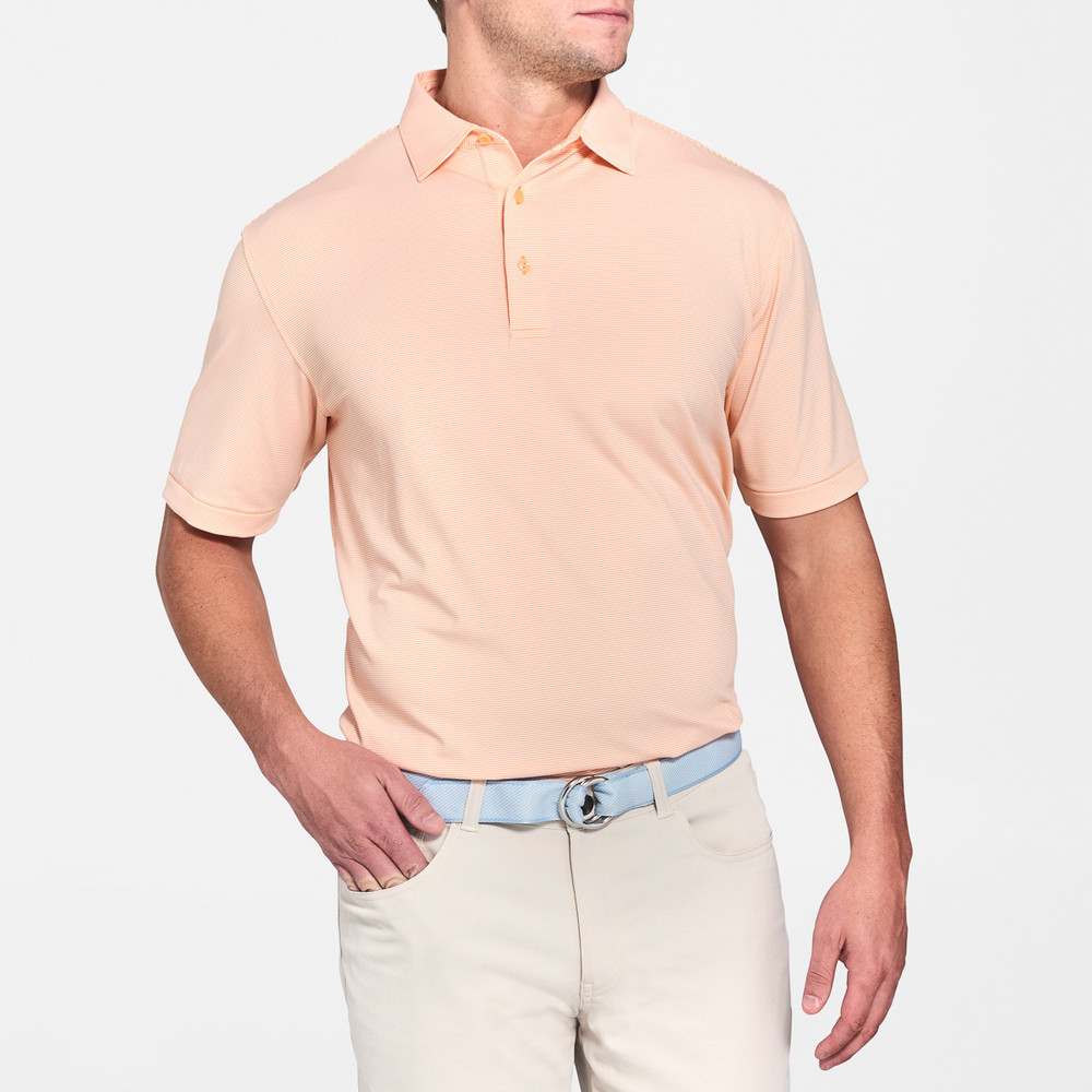 Jubilee Stripe Stretch Jersey 'Crown Sport' Performance Polo with Sean Self Collar in Dreamsicle by Peter Millar