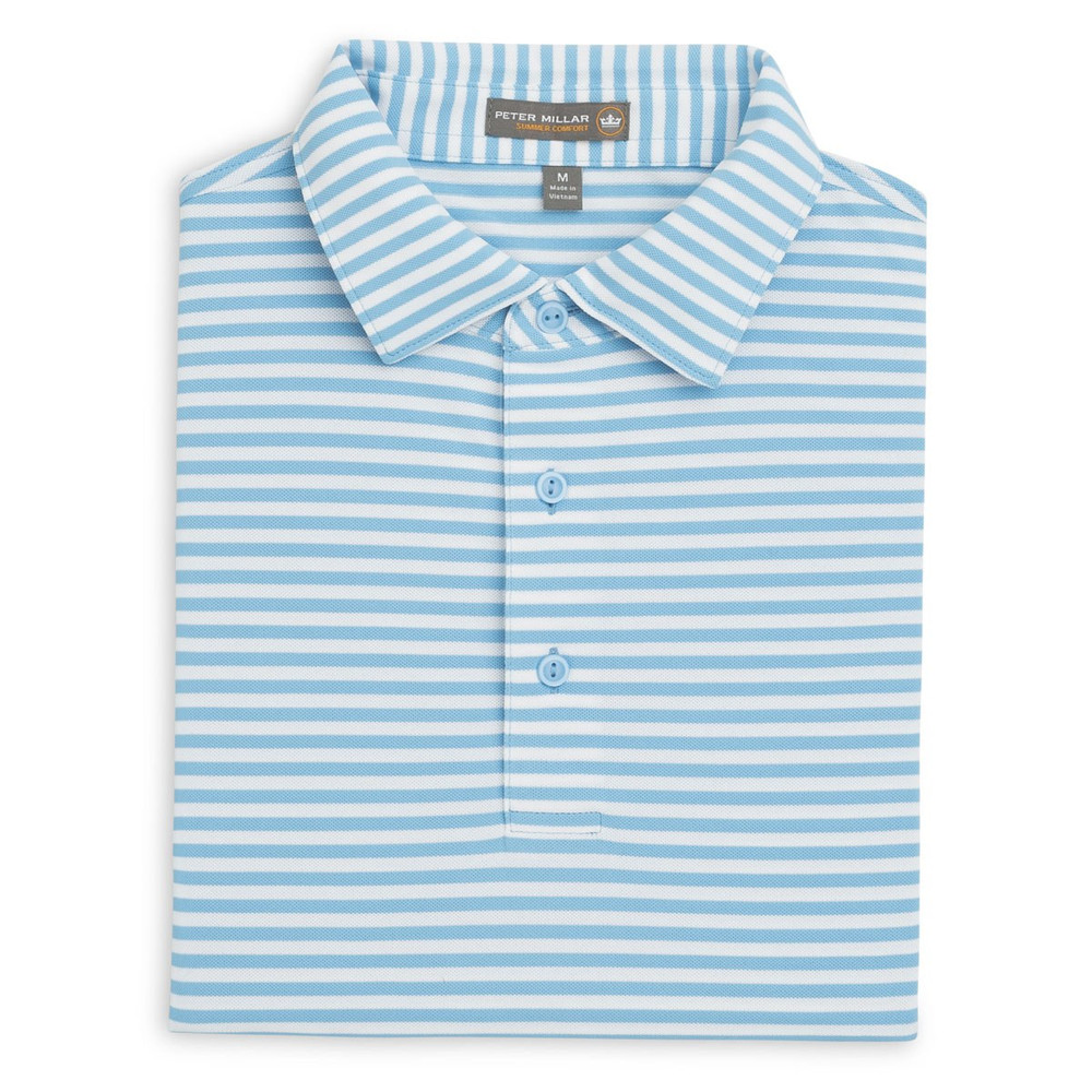 Tygra Stripe Stretch Mesh 'Crown Sport' Performance Polo with Sean Self Collar in Grotto Blue and White by Peter Millar