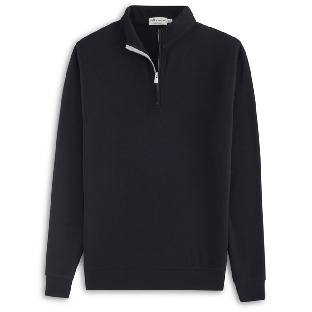 Heather 'Crown Comfort' Quarter-Zip Interlock Pullover in Black by Peter Millar