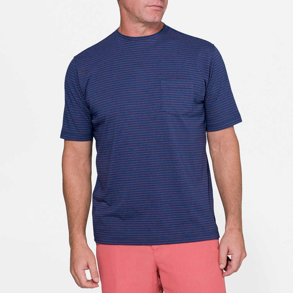f36d19e1 Seaside Striped Pocket Tee in Atlantic Blue by Peter Millar - Hansen's  Clothing