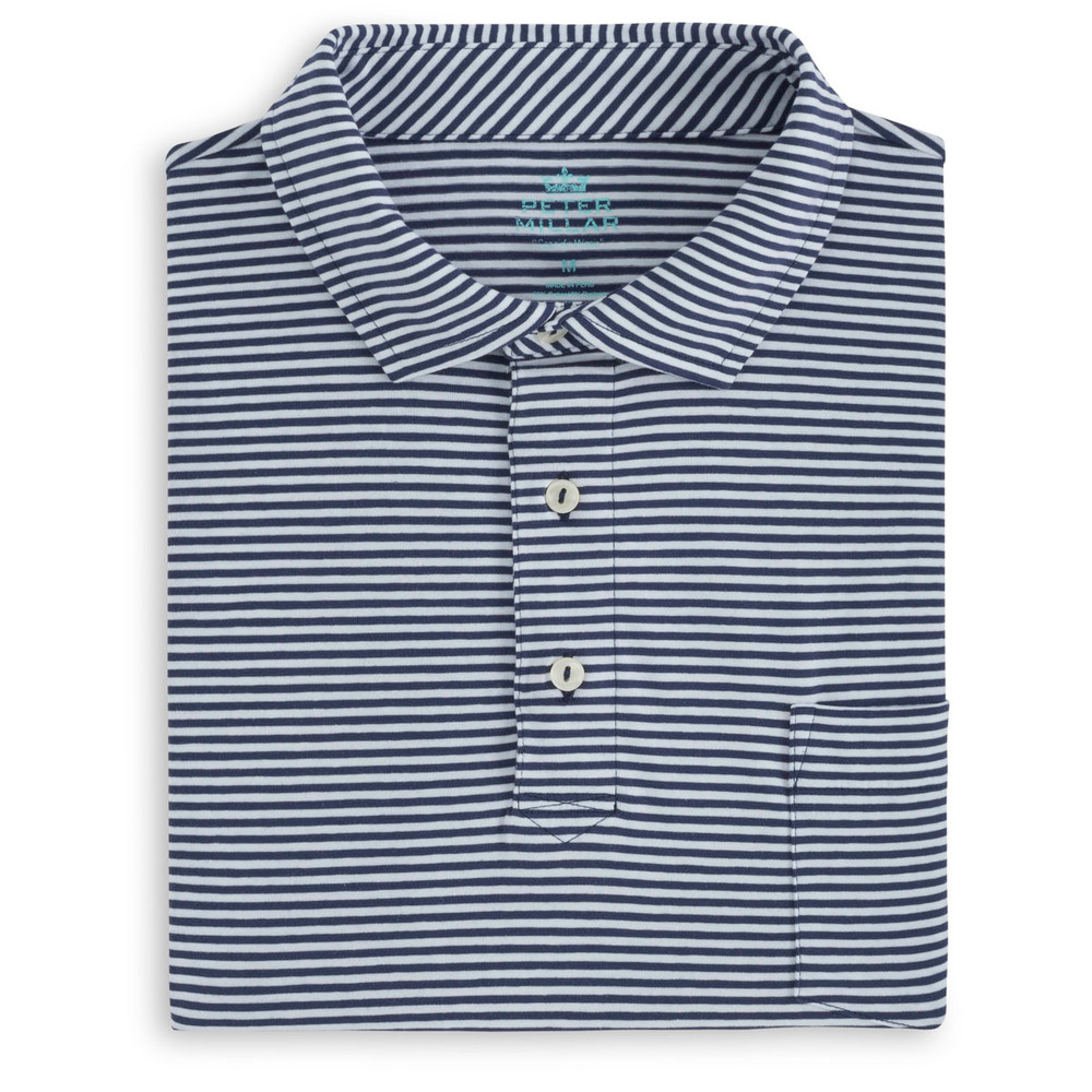Dewey Seaside Stripe Polo Shirt with Pocket in Atlantic Blue and White by Peter Millar
