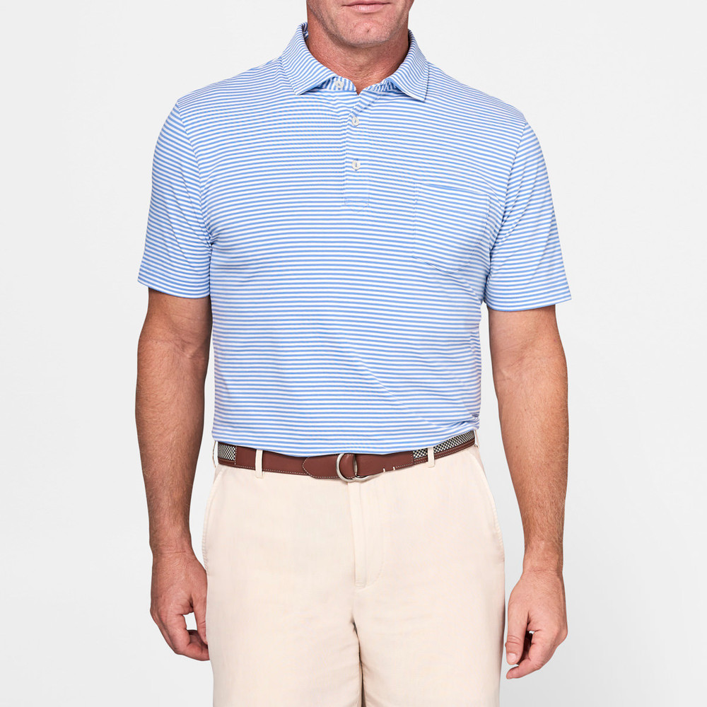 b60b1772a77 Dewey Seaside Stripe Polo Shirt with Pocket in Bonnet and White by Peter  Millar - Hansen s Clothing