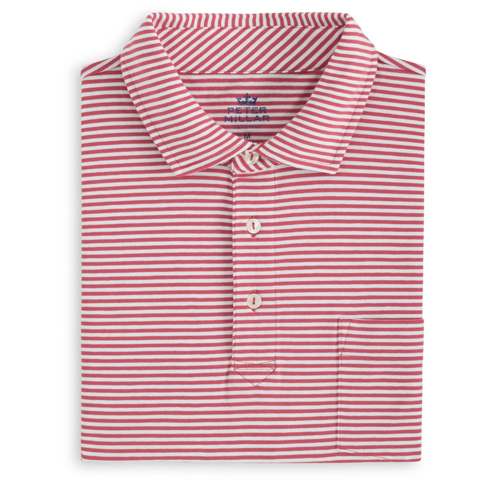 Dewey Seaside Stripe Polo Shirt with Pocket in Cape Red and White by Peter Millar