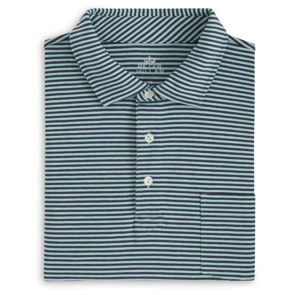 Dewey Seaside Stripe Polo Shirt with Pocket in Watercress and Atlantic Blue by Peter Millar