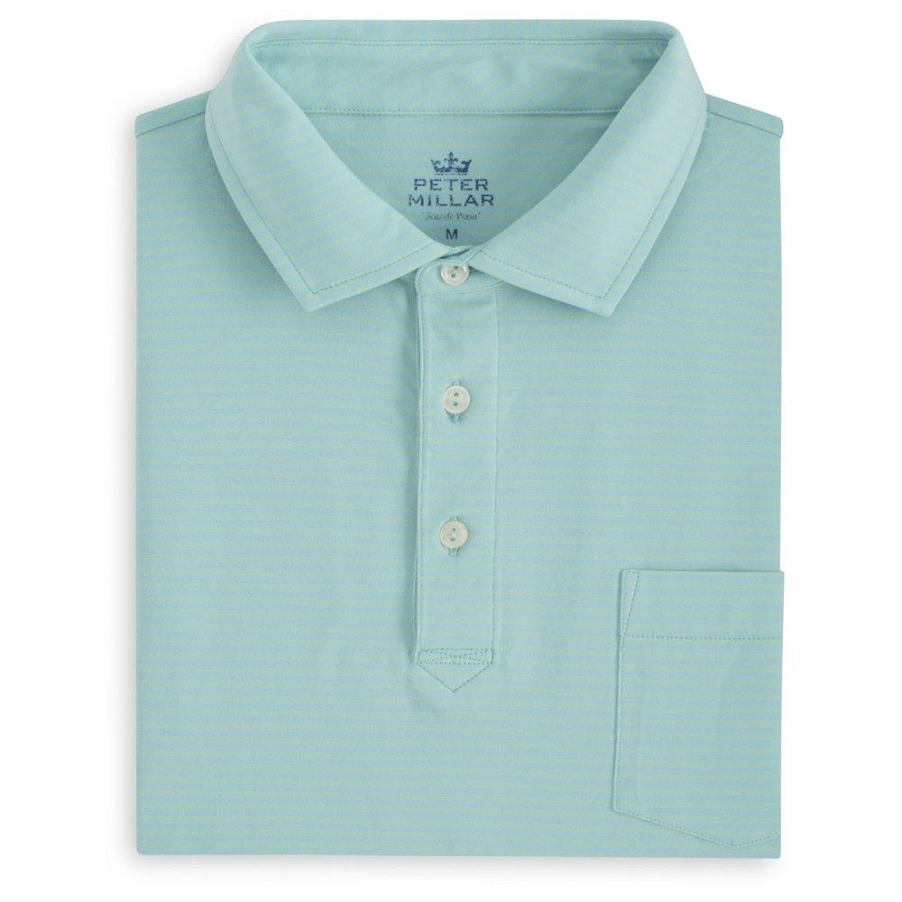 Dewey Seaside Stripe Polo Shirt with Pocket in Watercress and Ceramic by Peter Millar