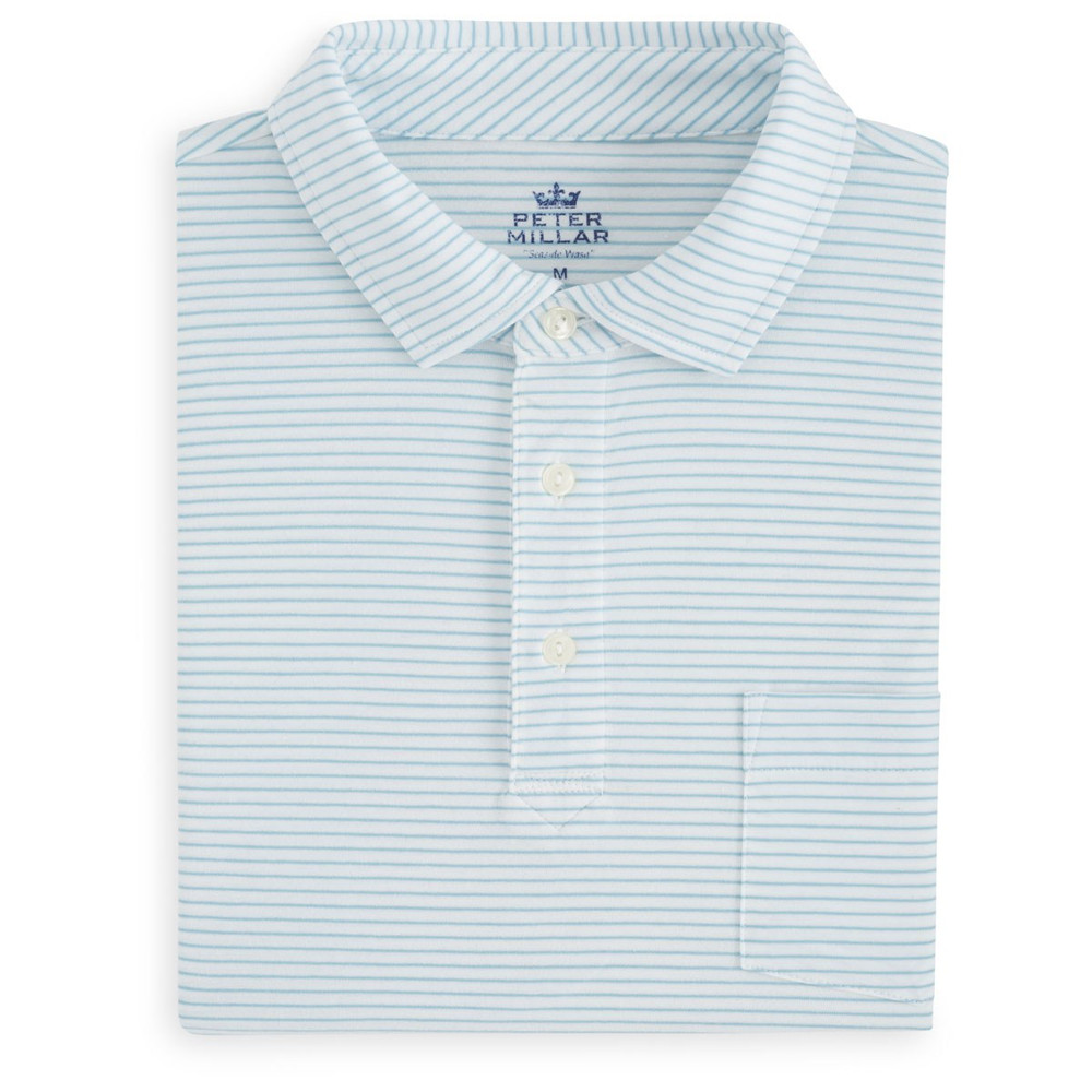 Emerald Seaside Stripe Polo Shirt with Pocket in White and Ceramic by Peter Millar