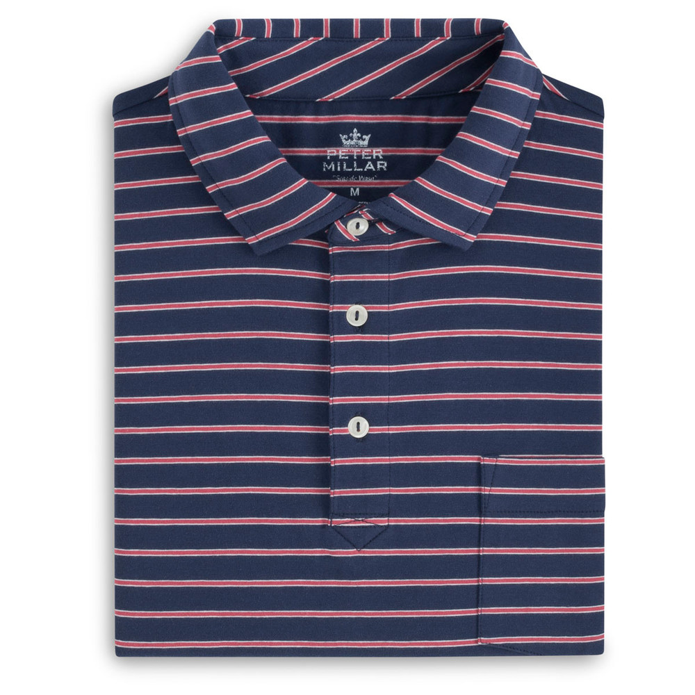 Indiana Seaside Stripe Polo Shirt with Pocket in Atlantic Blue by Peter Millar