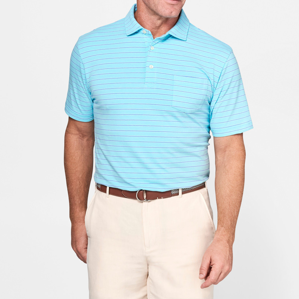 Indiana Seaside Stripe Polo Shirt with Pocket in Ceramic by Peter Millar