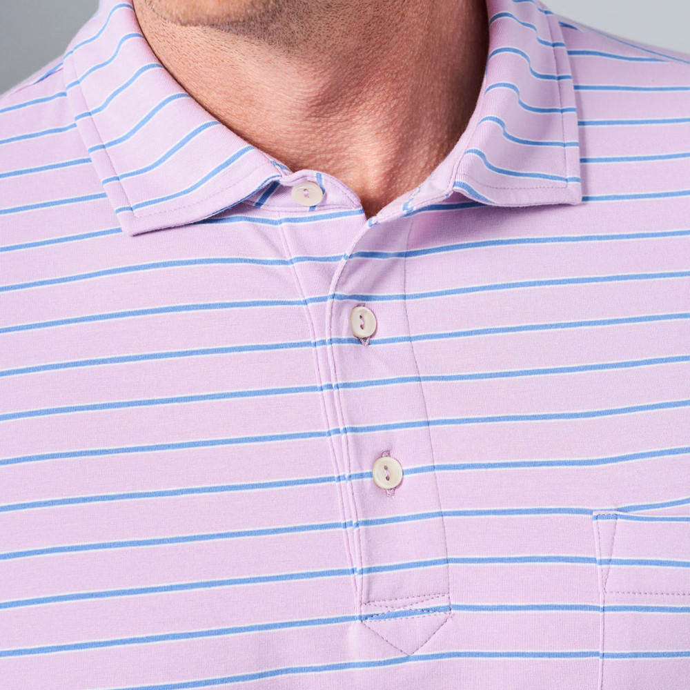 Indiana Seaside Stripe Polo Shirt with Pocket in Monument Purple by Peter Millar