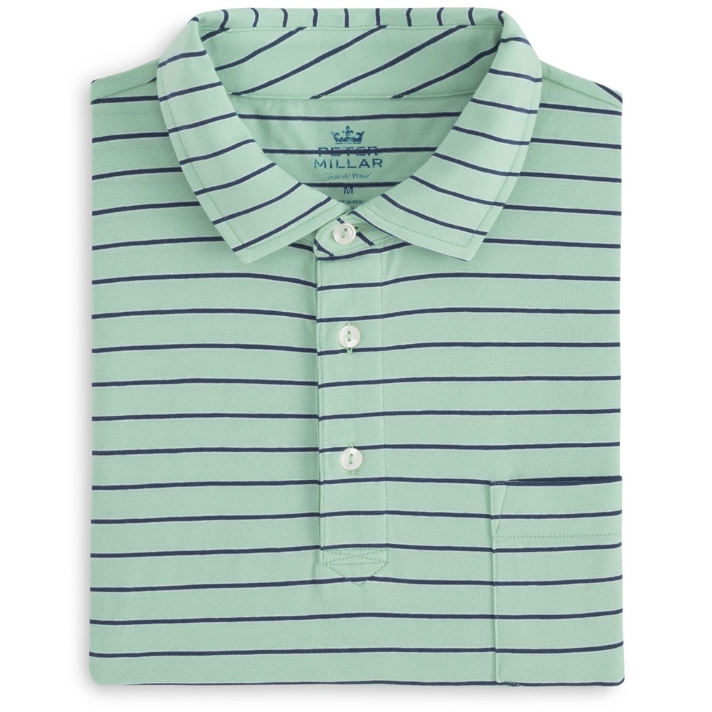 Indiana Seaside Stripe Polo Shirt with Pocket in Watercress by Peter Millar