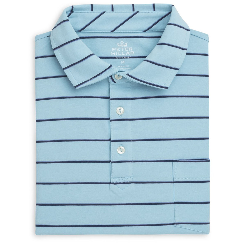 Knoll Seaside Stripe Polo Shirt with Pocket in Ceramic by Peter Millar