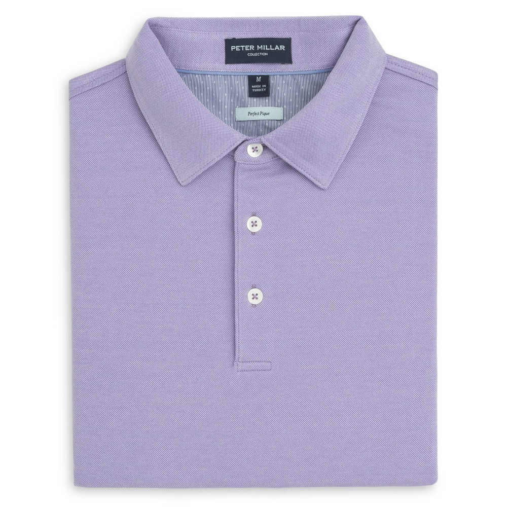 The Perfect Piqué Polo with Self Collar in Lavanda by Peter Millar