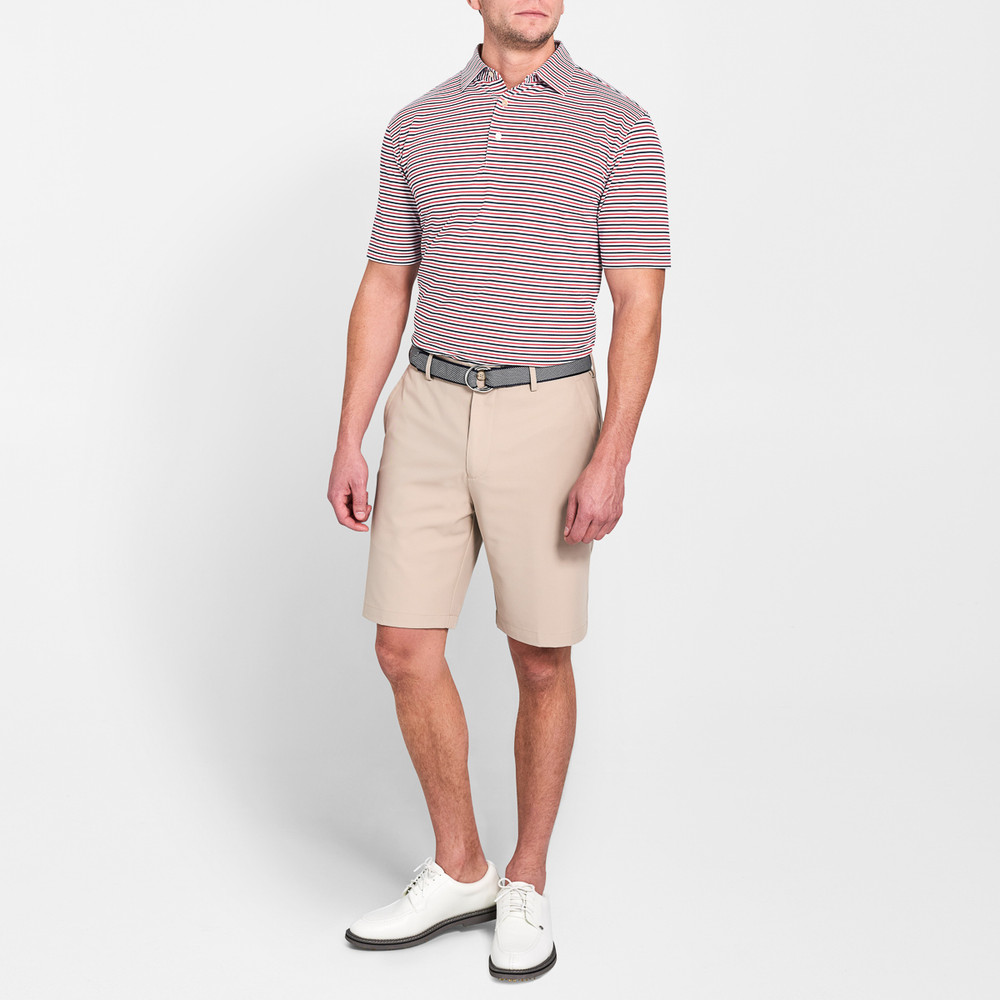 Capped Stripe Stretch Mesh 'Crown Sport' Performance Polo with Sean Self Collar in White and Cape Red by Peter Millar
