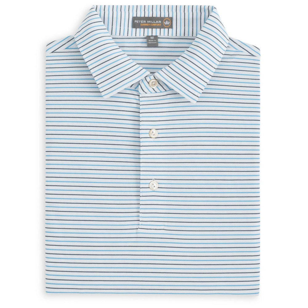 Peace Stripe Stretch Mesh 'Crown Sport' Performance Polo with Sean Self Collar in White and Maui by Peter Millar