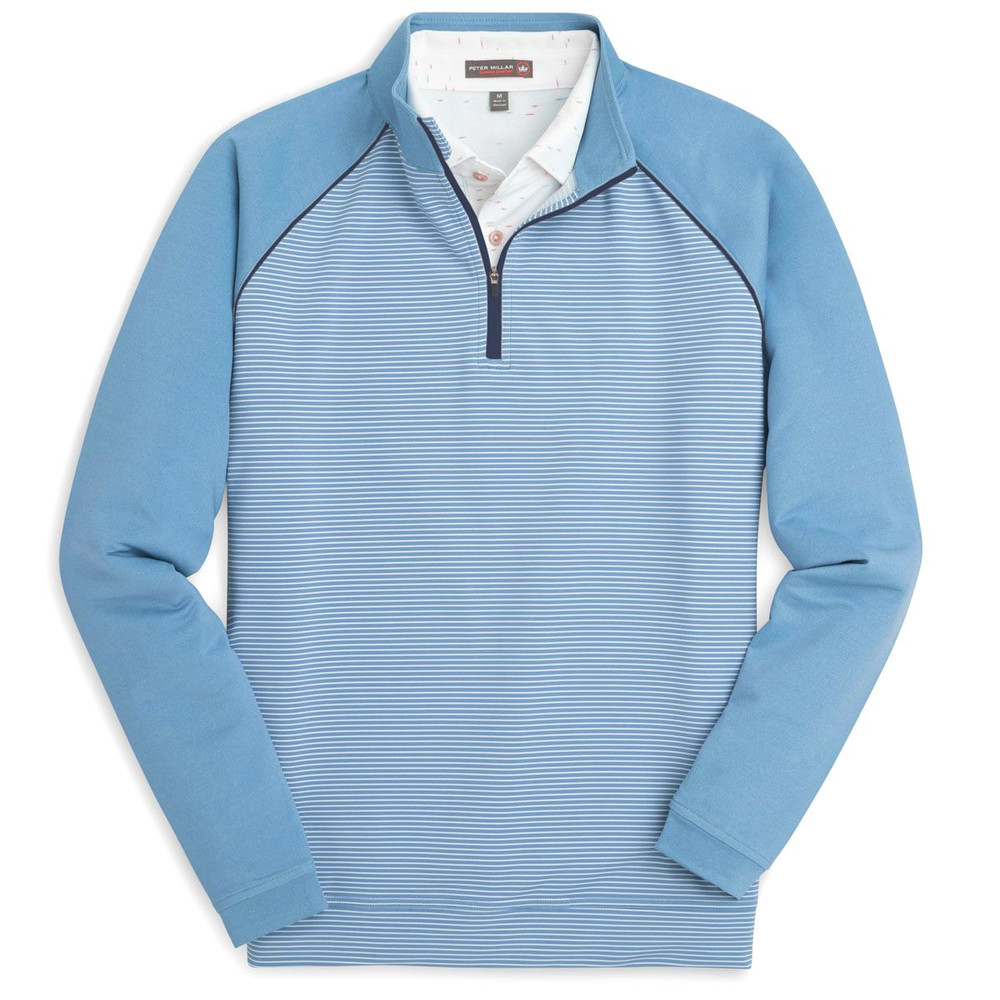 'Perth' Raglan Sleeve Stripe Quarter-Zip Performance Pullover in Grotto Blue by Peter Millar