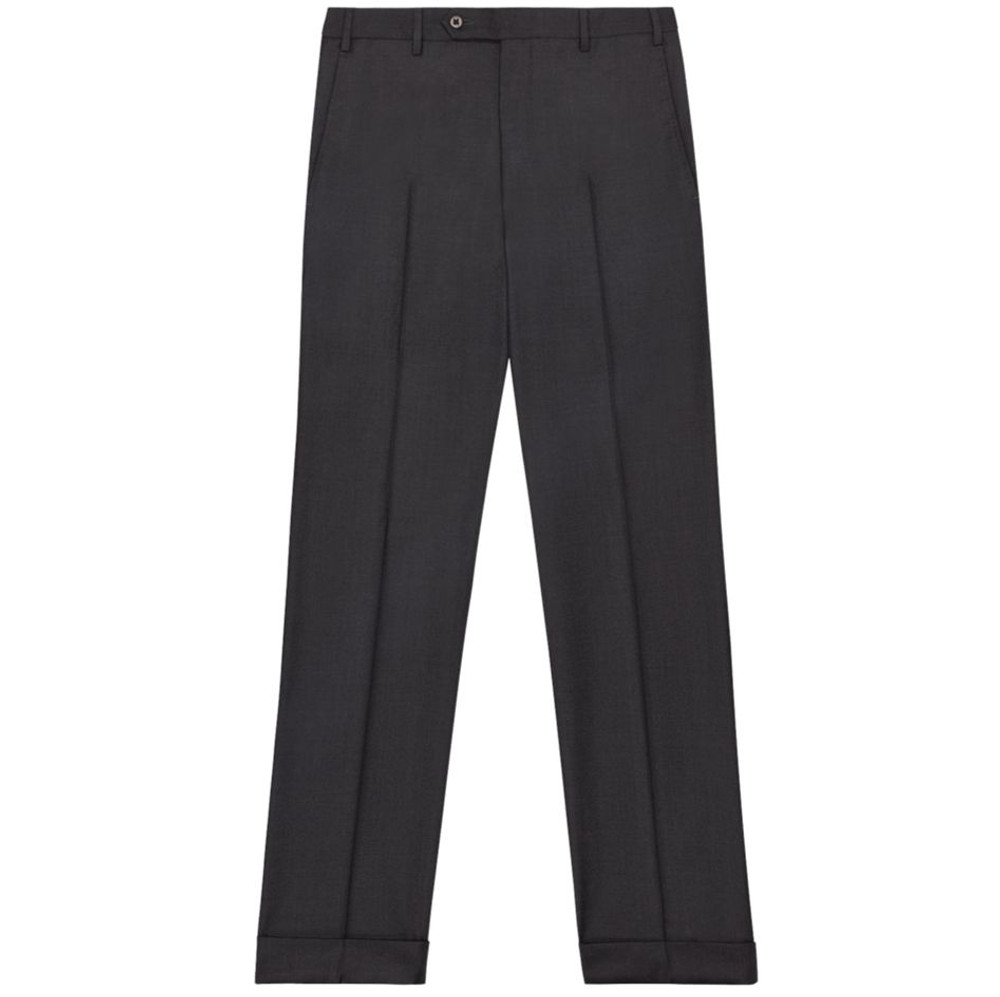 'Todd' Flat Front Luxury 120's Wool Serge Pant in Charcoal by Zanella