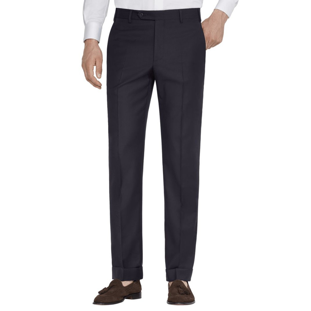 'Todd' Flat Front High Twist Wool Pant in Navy by Zanella