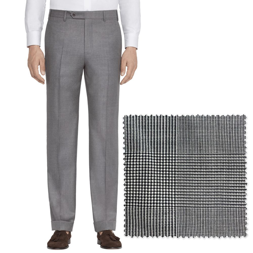 'Todd' Flat Front Macro Prince of Wales Plaid Wool Pant by Zanella