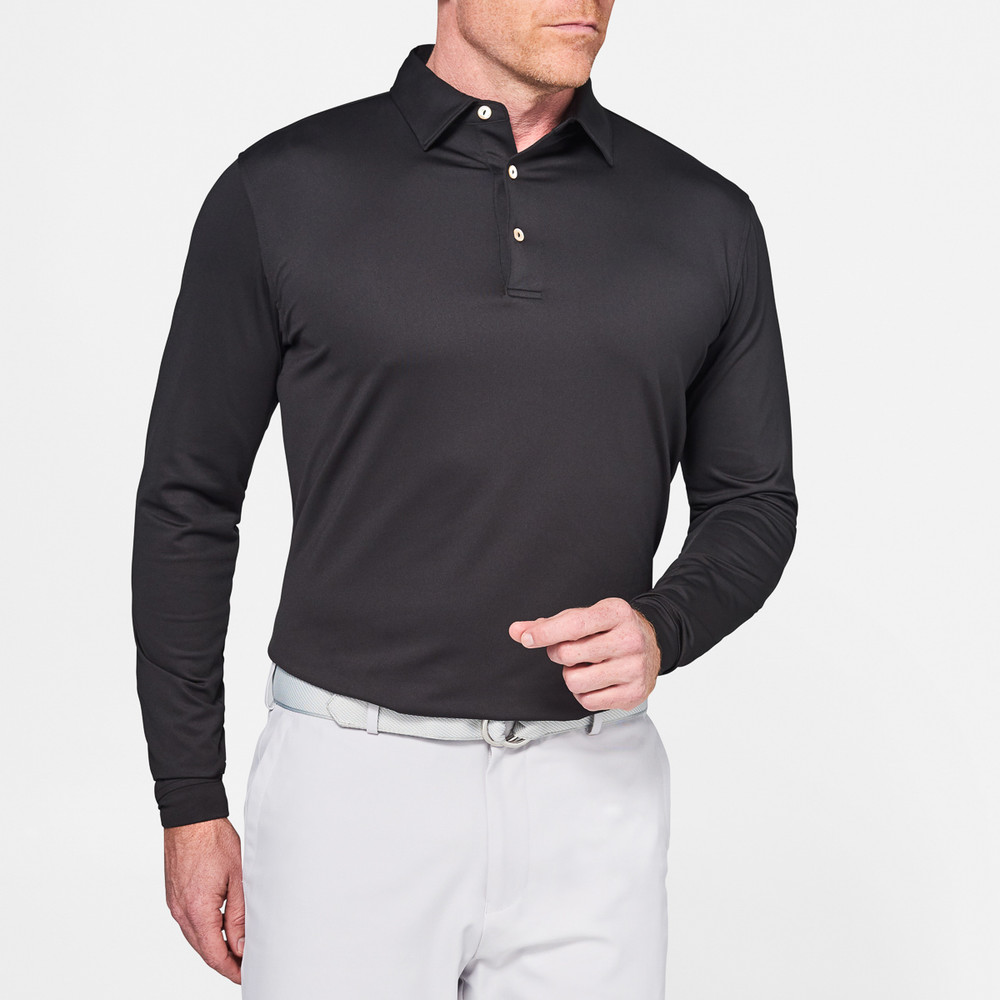 19a1e0e391ec Long Sleeve Solid Stretch Jersey  Crown Sport  Performance Polo with Sean  Self Collar in Black by Peter Millar - Hansen s Clothing