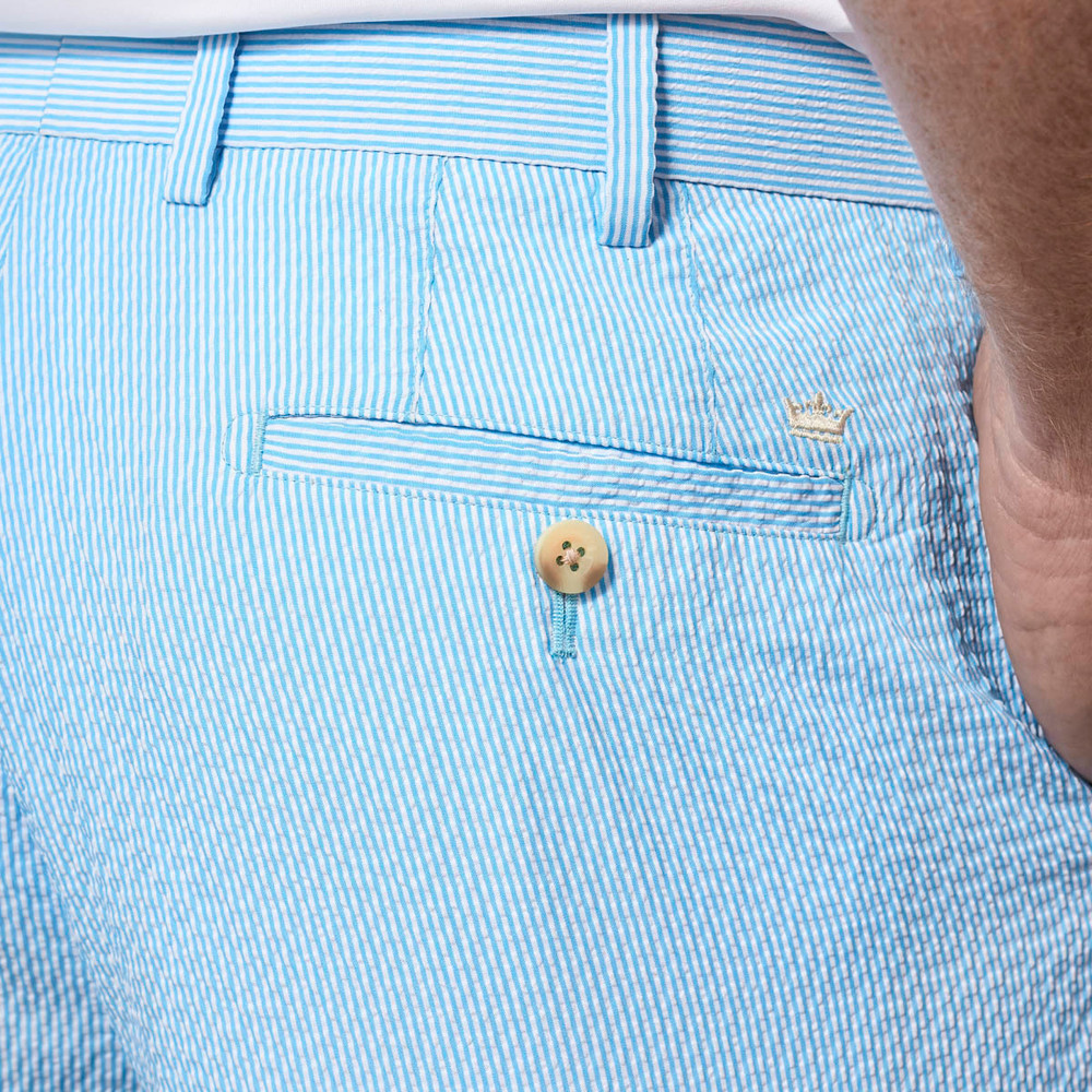 Apex Seersucker Pin Stripe Performance Short in Grotto Blue by Peter Millar