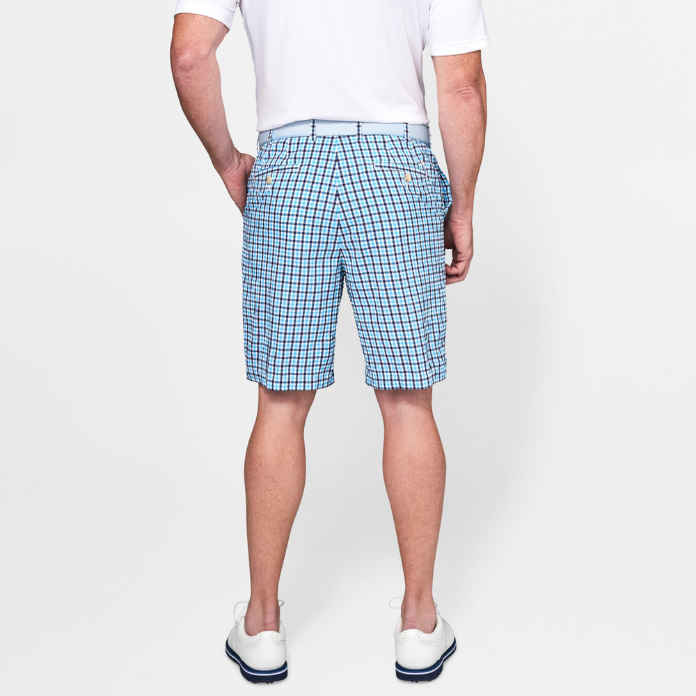 Apex Seersucker Check Performance Short in Yankee Blue by Peter Millar