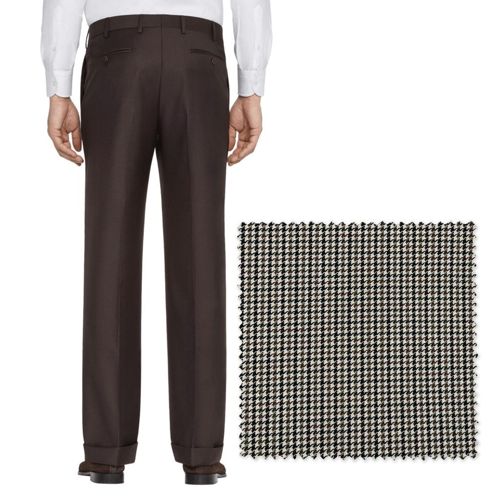 'Todd' Flat Front Wool Pant in Brown, Black, and Tan Houndstooth Hunting Check by Zanella