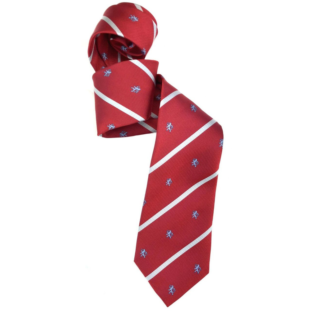 Red, White, and Blue Lion and Stripe Silk Club Tie by Robert Jensen