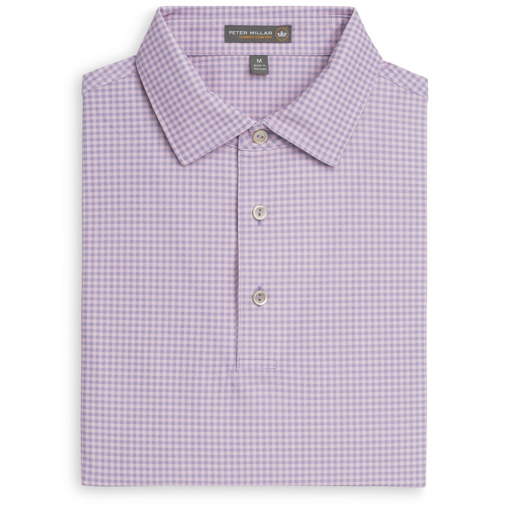 Nebraska Print Gingham Stretch Mesh 'Crown Sport' Performance Polo with Sean Self Collar in Muscadine by Peter Millar