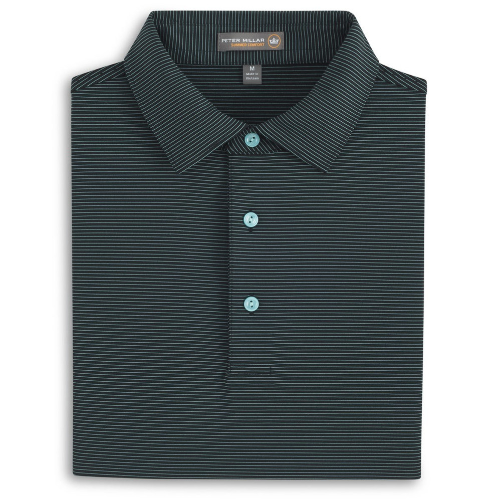 Halford Stripe Stretch Jersey 'Crown Sport' Performance Polo with Sean Self Collar in Black and Muscadine by Peter Millar