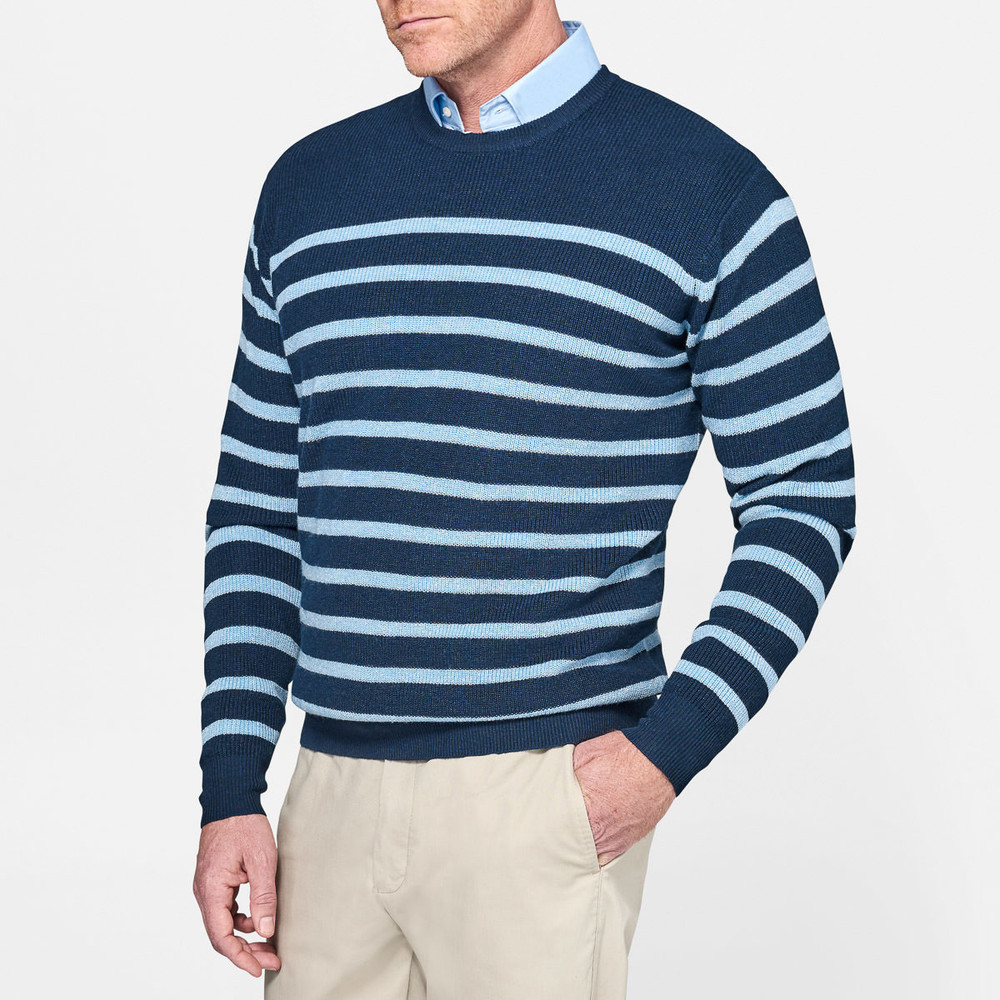 Crown Cool Wool and Linen Sailor Crewneck Sweater in Barrier Blue by Peter Millar