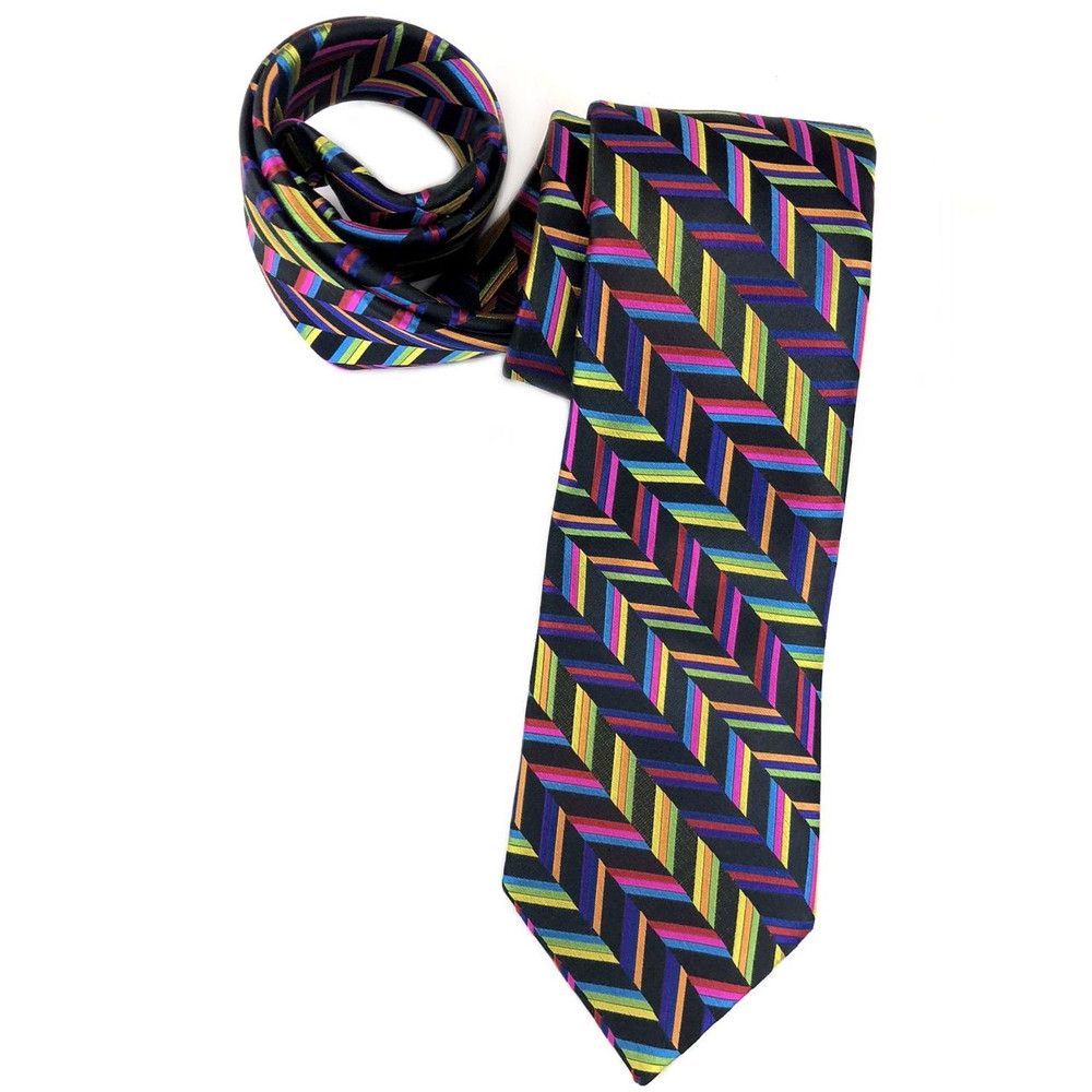 Spring 2018 Best of Class Black and Multi Herringbone Stripe 'Welch Margetson' Woven Silk Tie by Robert Talbott