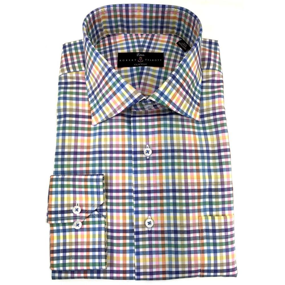 Lemon Zephir Check Estate Dress Shirt by Robert Talbott