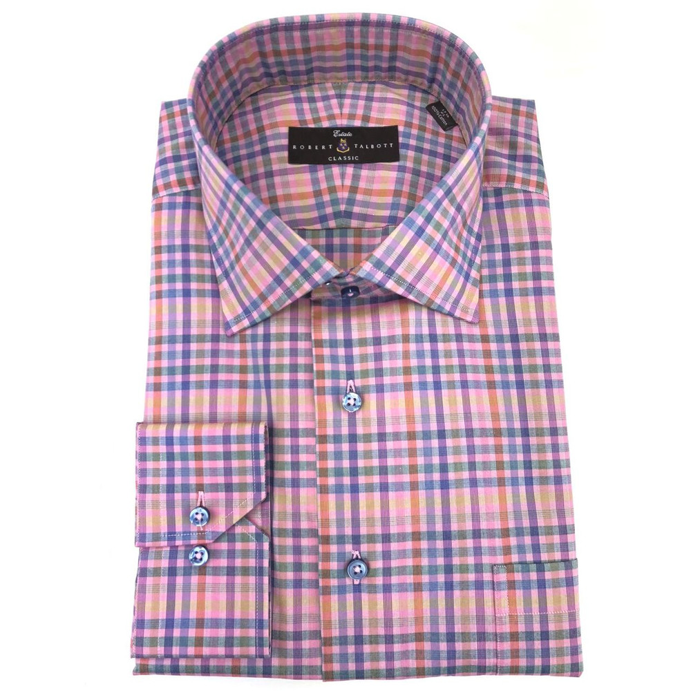Pink Zephir Check Estate Dress Shirt by Robert Talbott