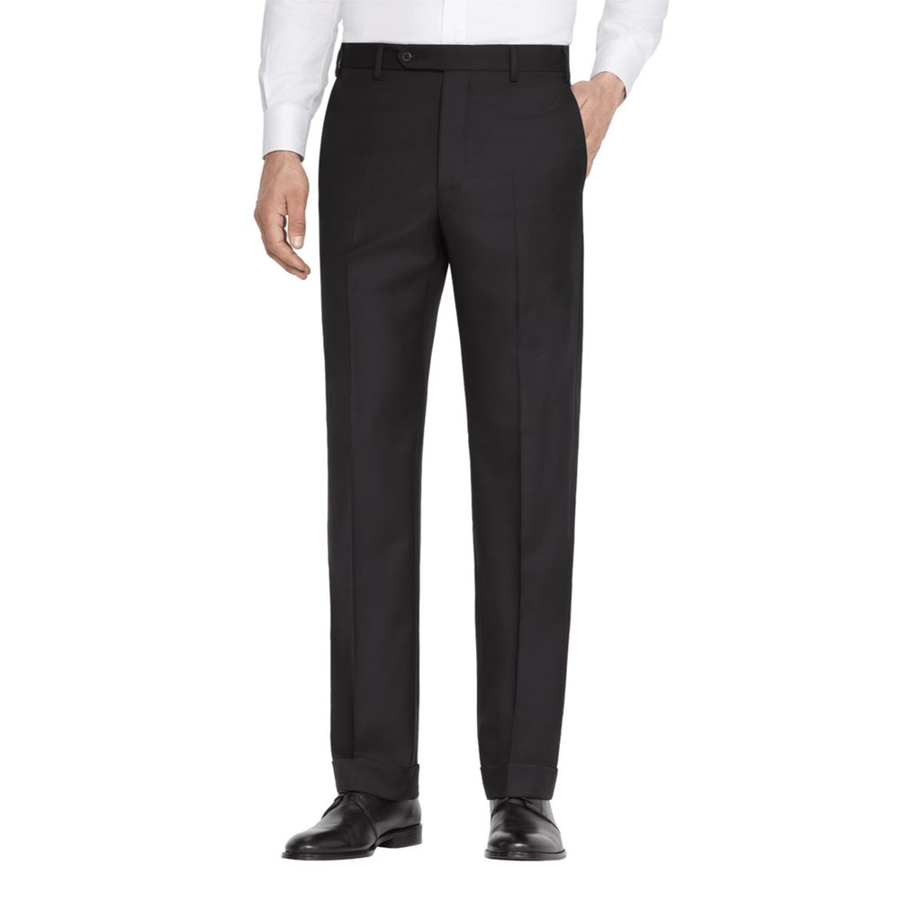 'Todd' Flat Front Luxury 120's Wool Serge Pant in Black by Zanella