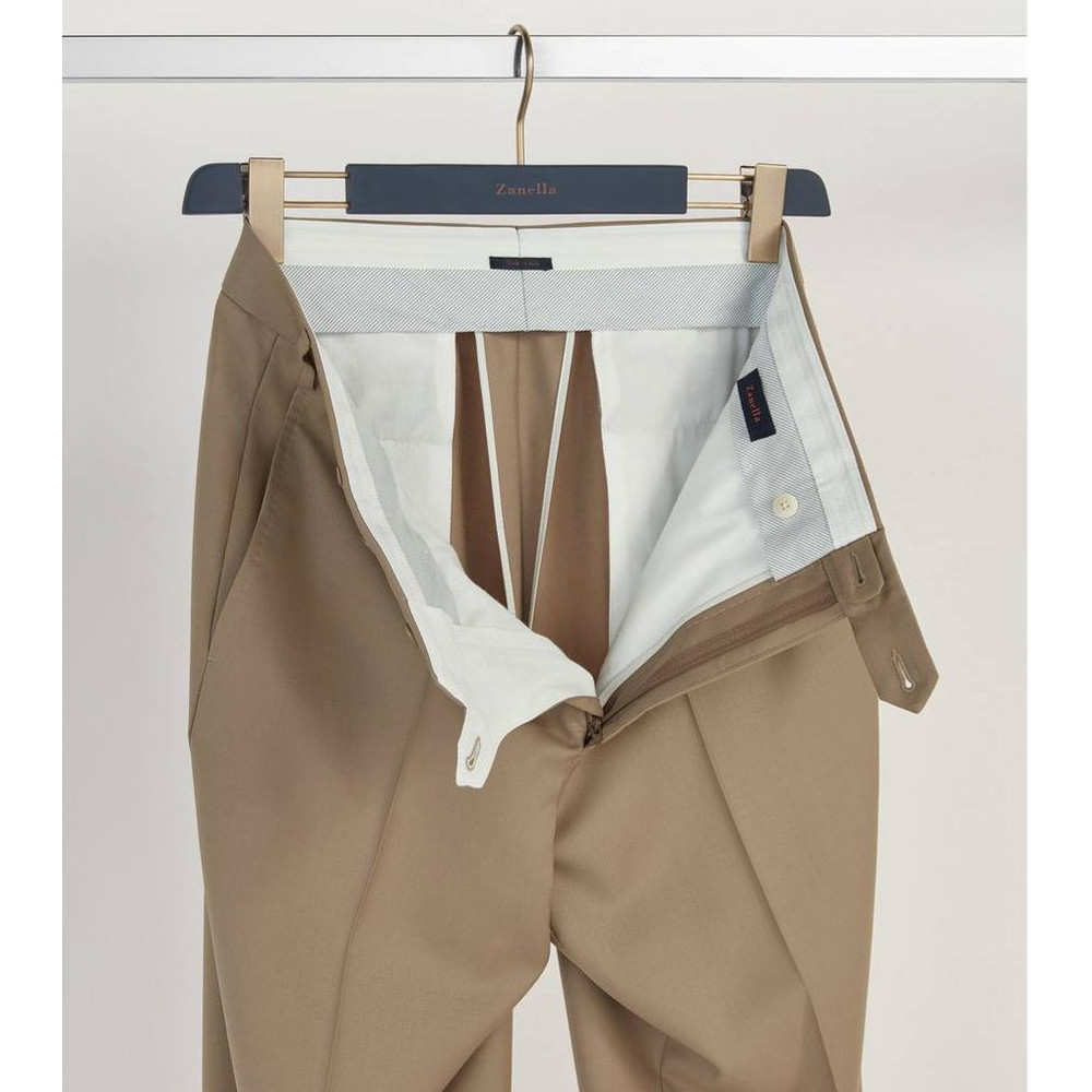 'Todd' Flat Front Luxury 120's Wool Serge Pant in Tan by Zanella