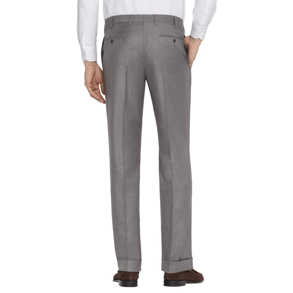'Todd' Flat Front Luxury 120's Wool Serge Pant in Light Grey by Zanella