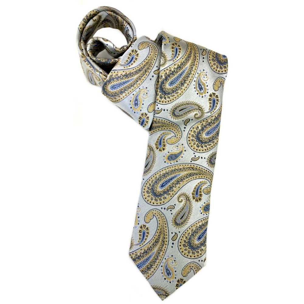 Spring 2018 Best of Class Silver and Beige Paisley 'Italian Super Jacquard' Woven Silk Tie by Robert Talbott