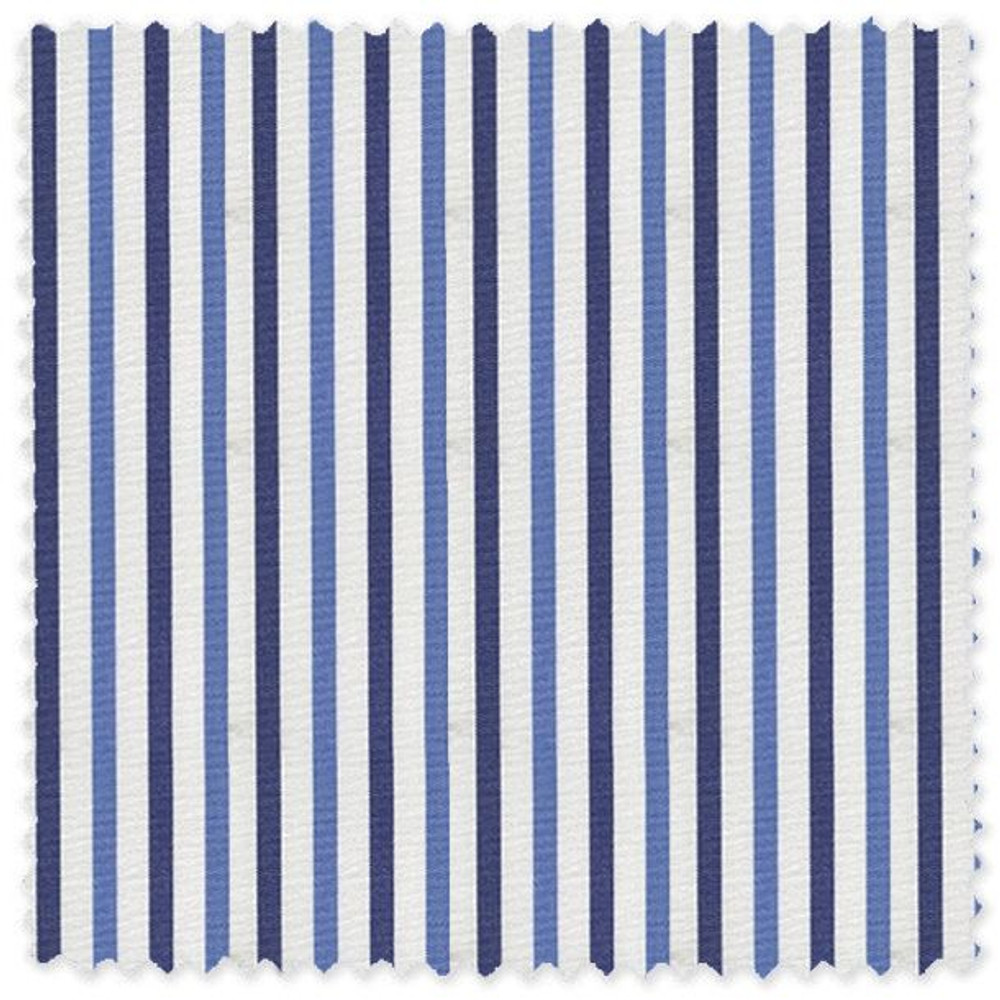 Navy, Blue, and White Stripe 'Grandi & Rubinelli' Cotton Broadcloth Custom Dress Shirt by Skip Gambert