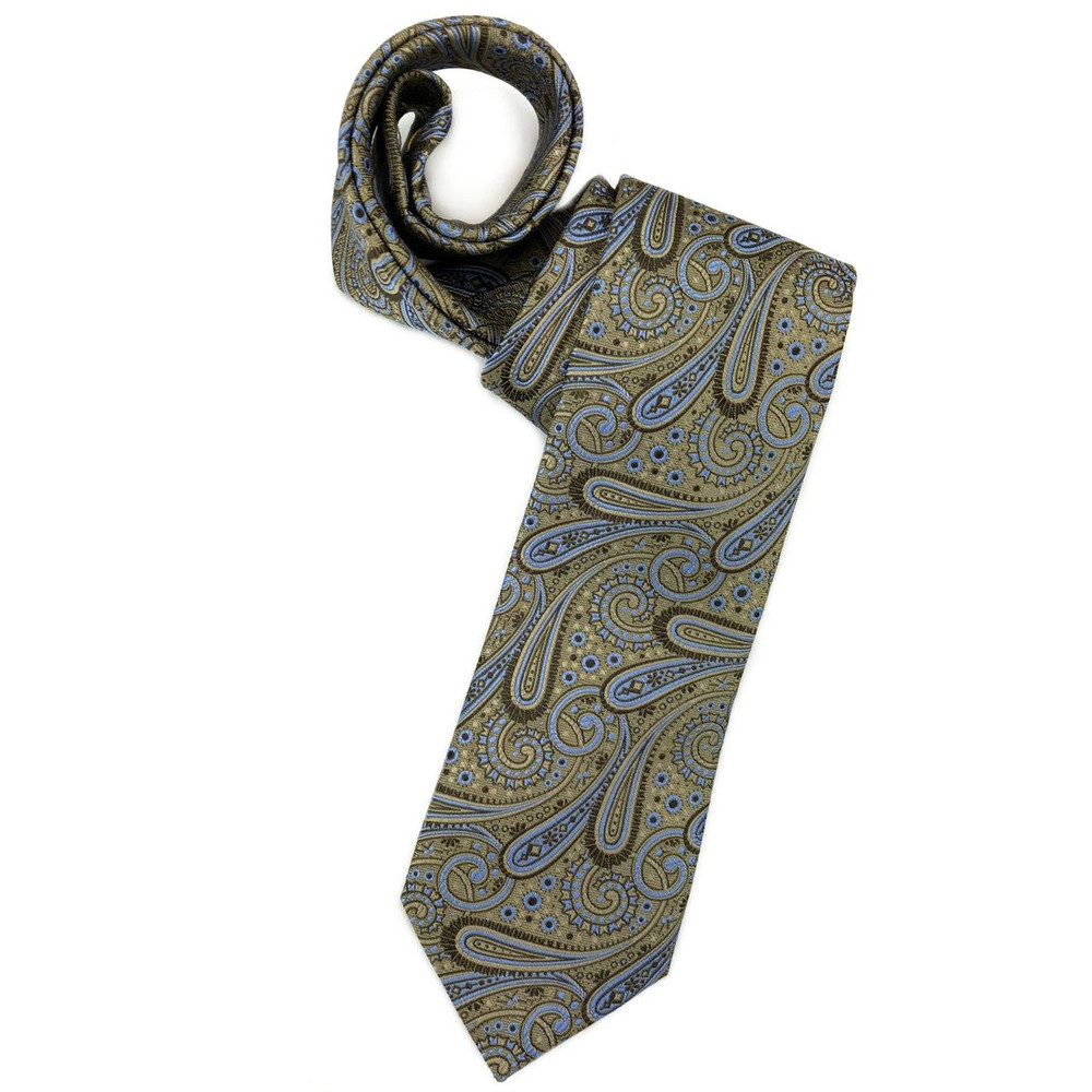 Spring 2018 Brown and Blue Paisley 'Ambassador Print' Woven Silk Estate Tie by Robert Talbott
