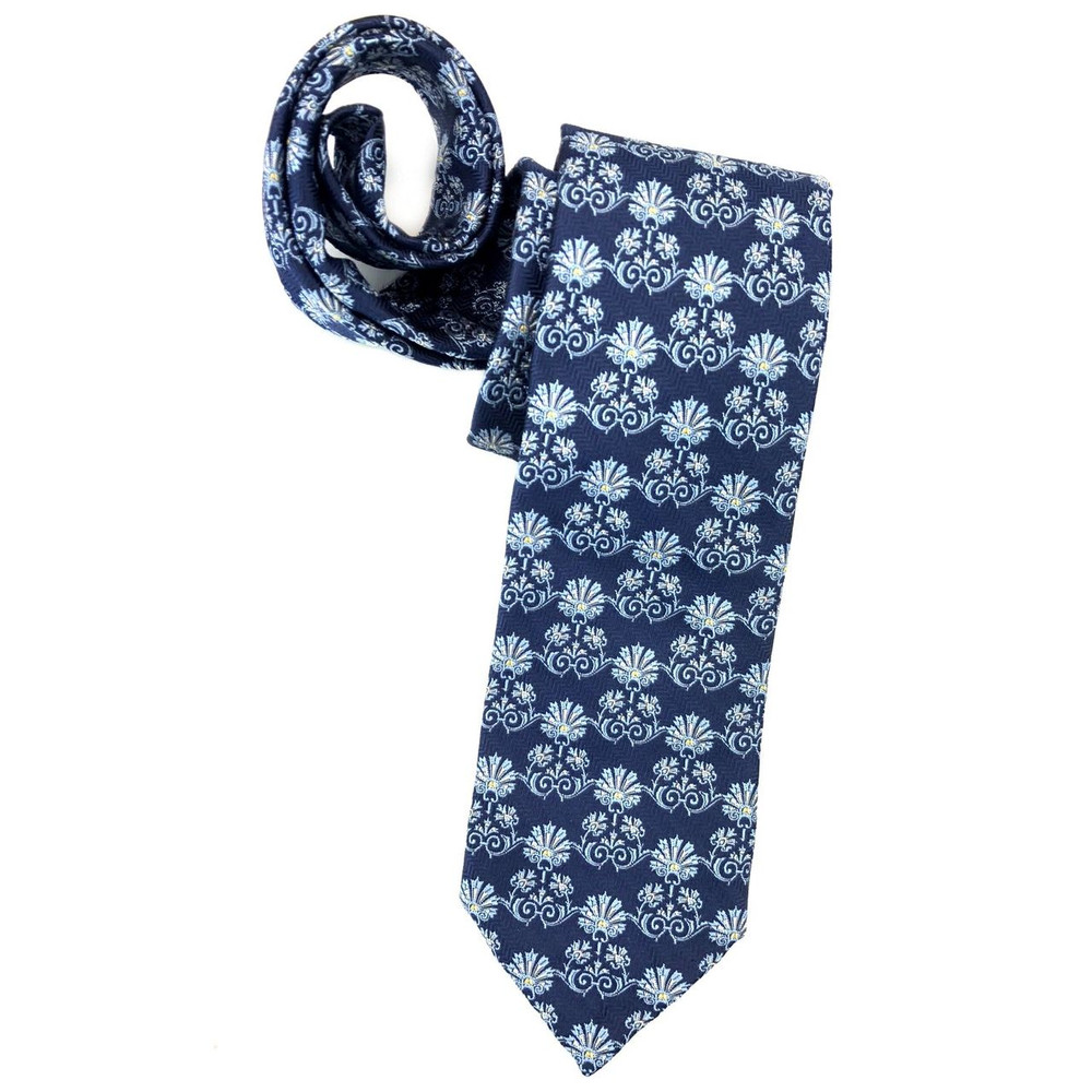 bf052793e334 Spring 2018 Navy and Blue Botanical 'Sudbury' Seven Fold Woven Silk Tie by  Robert Talbott - Hansen's Clothing