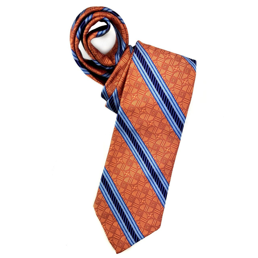 Spring 2018 Orange and Blue Geometric Stripe 'Sudbury' Seven Fold Woven Silk Tie by Robert Talbott