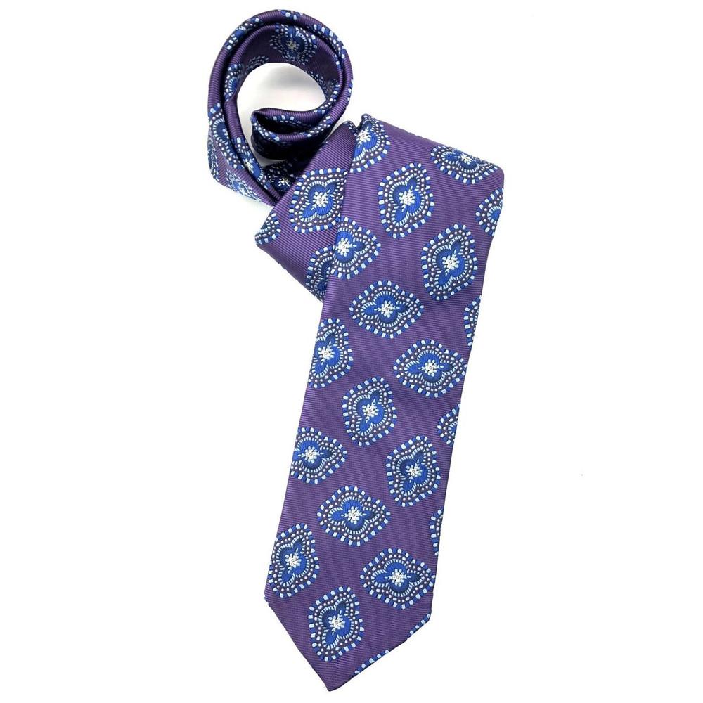 Spring 2018 Purple and Blue Medallion 'Sudbury' Seven Fold Woven Silk Tie by Robert Talbott