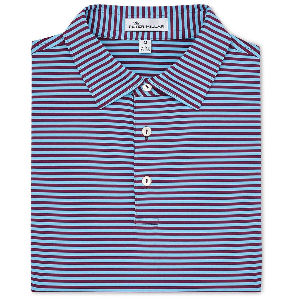 NEW Fall 2018-Competition Stripe Performance Polo by Peter Millar-Winterberry/Grotto Blue