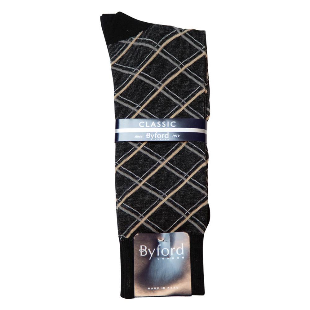 Black Shadow Diamond Peruvian Pima Cotton Socks (Mid-Calf) by Byford