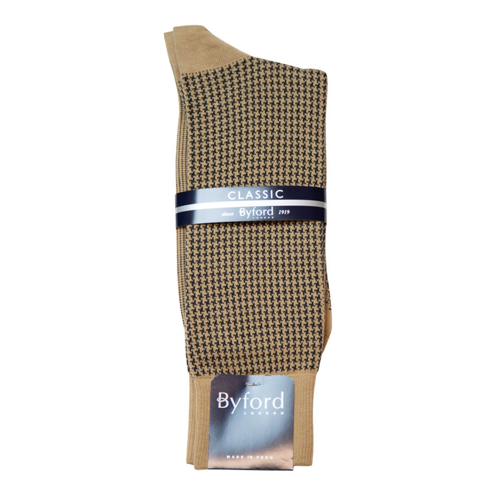 Khaki Houndstooth Peruvian Pima Cotton Socks (Mid-Calf) by Byford