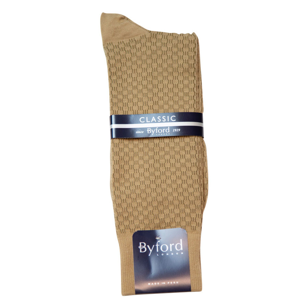 Khaki Link Design Peruvian Pima Cotton Socks (Mid-Calf) by Byford