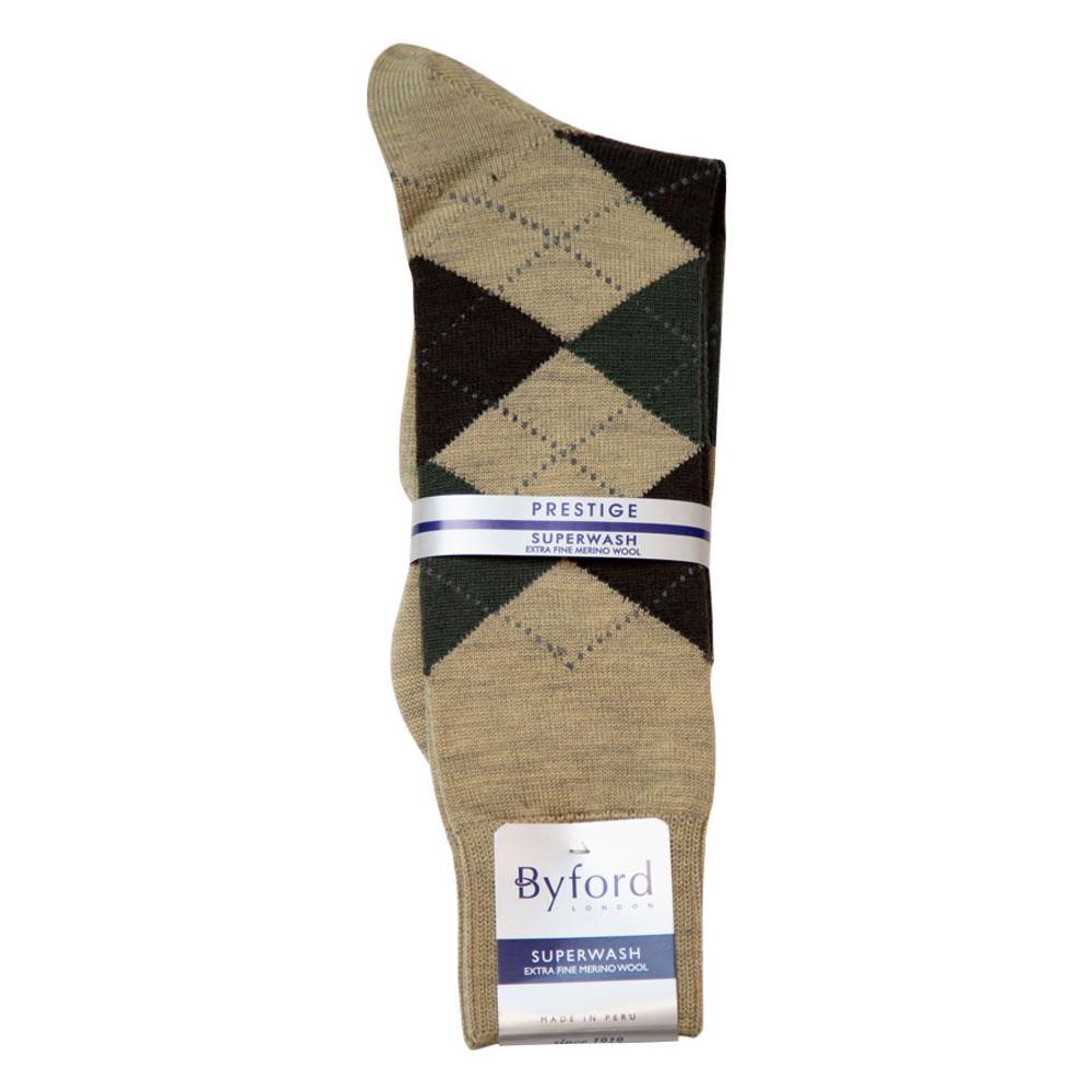 Khaki Argyle Superwash Merino Wool Socks (Mid-Calf) by Byford